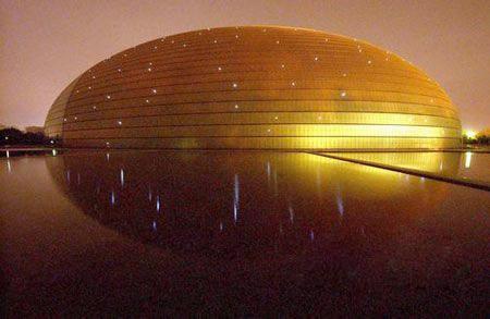 """国家大剧院壳体结构上的506盏""""蘑菇灯""""首次点亮"""
