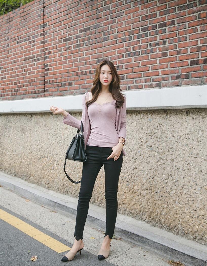韩国高挑美女模特时尚街拍